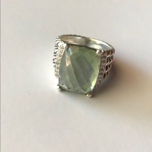 David Yurman Prasiolite + Diamond Wheaton Ring 5.5